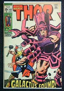 THOR #168 🔥 FINE+ 6.5 🔥 KEY Issue! Galactus found! 1969