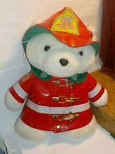 """Santa Bear 1996 Fireman Plush Dayton Hudson Christmas 18""""  Vinyl Hat & Jacket"""