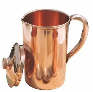 Pure Copper Smooth Water Jug Copper Pitcher For Ayurveda 100% Health Benefit