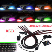 4x Waterproof RGB LED Strip Under Car Tube Underbody Glow System Neon Light Kit