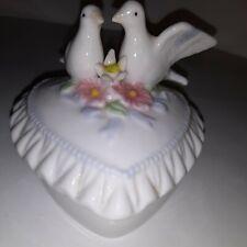 Vintage Trinket Keepsake Porcelain Box K's Collection Heart shape Doves Flowers