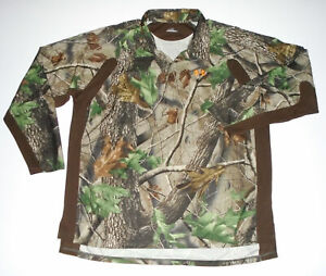 UNDER ARMOUR Camouflage Pullover Polo Shirt RealTree Hardwoods Camo L/S NEW XL