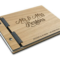 Wedding Guest Book Album Personalised Rustic Wood Design Custom Wooden Guestbook