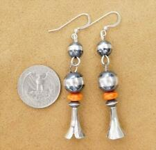 Native American Sterling Silver Navajo Pearl Beads Squash Blossom Long Earrings