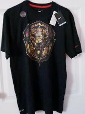 Nike LeBron James King Lion Crown Ring Dri Fit T-Shirt Black Basketball Large Nw