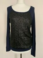 Womens Top Size Small Sequined Navy Blue Long Sleeve Round Neck