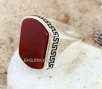 Hecho a mano 925 Sterling Silver Ring Natural Ágata Piedra Anillo Rojo de hombre #N2
