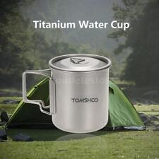 TOMSHOO Outdoor 420ml Titanium Water Cup Picnic Camping Mug with Lid Z8B9