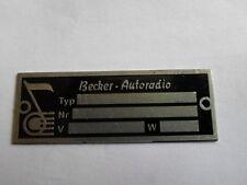 Typenschild id-plate tag Becker autoradio Mexico Schild plaque placa targa s9