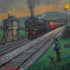 Original BEST Oil Painting Noted Artist James Downie : A15 at Gill Signal Box