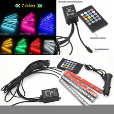 4X12 RGB LED Neon Strip Light Music Remote Control For Car Interior Lighting