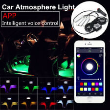 4x LED RGB Car Interior Atmosphere Strip Light Wireless Phone APP Voice Control