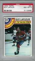 1978 Topps hockey card #90 Guy Lafleur, Montreal Canadiens graded PSA 8