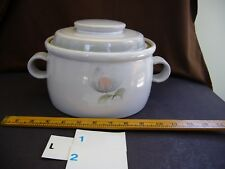 DENBY Whisper PatternCasserole Serving Dishwith Lid11 inchin Stoneware