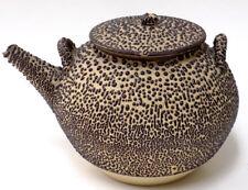 Antique Japanese Wormy Ware Pottery Teapot Brown Jakatsu Glaze 19th c
