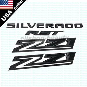 2019-2021 Matte Black Silverado RST Z71 Emblem Nameplate Badge Kit OEM