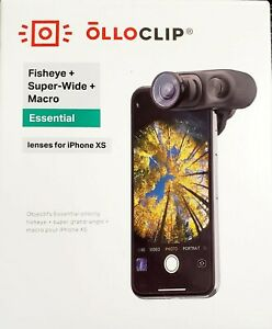 OLLOCLIP iPhone XS Lens Set - Clip with Fisheye Super Wide and Macro 15x  Lenses