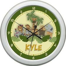 Personalized Safari Express Wall Clock Girl/Boy Nursery Decor Gift