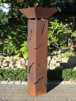 Rostsäule Luzie mit Risse + Schale Rostsäulen Säule Rost rostig Garten Edelrost