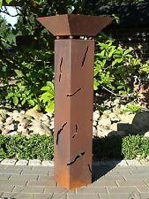Rostsäule Luzie mit Risse + Rostschale XL Rostsäulen Säule rostig Garten TRENDY