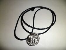 Tumblestone Spiral Silver Cage Necklace Cotton Cord Holds Gemstone Crystal Etc
