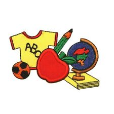 ID 1007 Kids School Shirt Apple Globe Class Embroidered Iron On Applique Patch