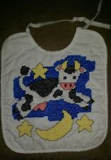 Handmade Boys Girls Multi Color Embroidered Cow Jumping Over The Moon Bib