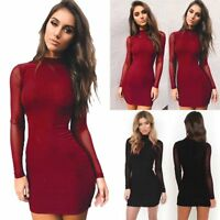 Women Casual Long Sleeve Bandage Bodycon Evening Party Cocktail Short Mini Dress