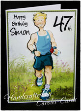 Du24 PERSONALISED BIRTHDAY CARD NAME/AGE SPORT/RUNNER/RACE/DAD/SON/BROTHER