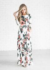 Women Floral Print Long Sleeve Boho Dress Ladies Evening Party Long Maxi Dresses