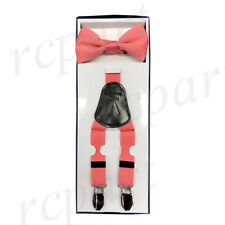 New Y back Kid's Boy's Suspender adjustable strap clip on & bowtie formal coral