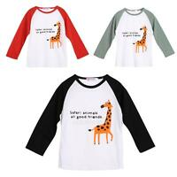 Toddler Kids Baby Boys Girls Giraffe Print T-shirt Long Sleeve Tops Clothes 1-6Y
