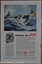 1945 ELECTRIC BOAT Company advertisement, SUBMARINE sinking enemy ship, WWII