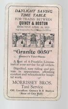1925 Daylight Saving Time Table for Trains Quincy & Boston