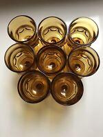 Vintage Set(8) Indiana Glass Kings Crown Wine Cordials Glasses Amber Glass NWOB!