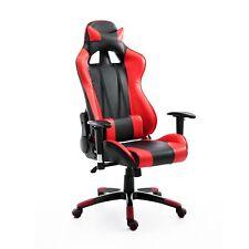 HOMCOM Poltrona da Ufficio Gaming Girevole Reclinabile Nero-rosso Ecopelle