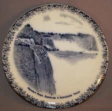 Vintage Flow Blue Plate Souvenir Prospect Point American and Horseshoe Falls