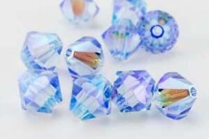 100 pieces 4mm 5328-5301 Bicone Swarovski LIGHT SAPPHIRE AB2X Beads USA Seller