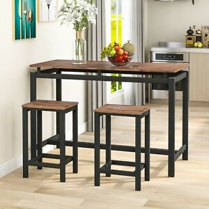 Bar Table and Stool Set For Kitchen Dining Room 2 Metal And Wood Stools High