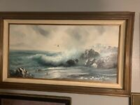 Beautiful Framed Seascape Waves Large Oil Painting Signed Garin - Eugene Garin?