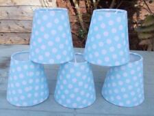 5 Light Blue & White Polka Dot Fabric Lampshades