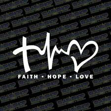 "FAITH HOPE LOVE Vinyl Decal Sticker Car Window Wall Bumper Symbol Heart Cross 6"""