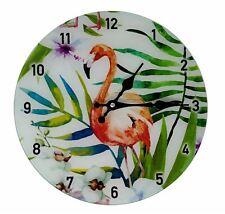 Licence Emballé Verre Flamant Rose Feuilles Vert Bleu Mural Horloge 30CM Travers