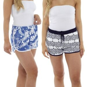Ladies Womens Cotton Jersey Patterned Shorts Summer Beach Board Swimming Shorts