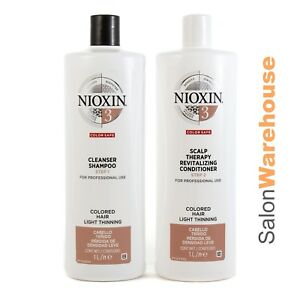Nioxin System 3 Cleanser + Conditioner Litre Duo + FREE TRIAL KIT NO3  $57 rrp