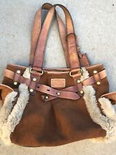 Fossil Long Live Vintage Tan Brown Leather Purse Shoulder Bag with Fur Keys EUC