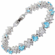 Wedding Gift Cubic Zirconia 18K White Gold Plated Aquamarine Tennis Bracelet