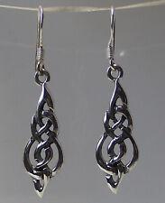 925 Sterling Silver CELTIC KNOT EARRINGS 36mm drop Dangle Ladies Pair