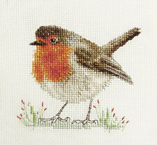 Robin Redbreast Christmas Bird * Full Counted Cross Stitch Kit Materials