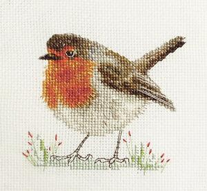 ROBIN REDBREAST, Christmas Garden Bird Full cross stitch kit + materials *Fido